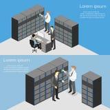 服务器室等量内部  平的3d例证 免版税库存照片