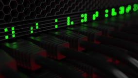 服务器缆绳和眨眼睛灯 覆盖技术或现代公司网设备概念 3d翻译 库存照片