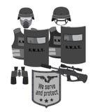 服务并且保护例证 拍打和警察 平的样式 库存照片