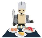 服务有人的特点的机器人的厨师烹调和 库存图片
