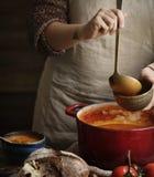 服务蕃茄汤食物摄影食谱想法 图库摄影