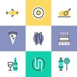 服务食物被设置的图表象 免版税库存照片