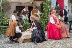 服装中世纪当事人 免版税库存图片