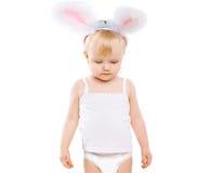 服装复活节兔子的逗人喜爱的婴孩 库存图片