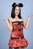 服装女孩鼠标惊奇了 免版税图库摄影