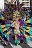 服装的人庆祝狂欢节的 免版税库存照片