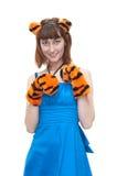 服装老虎妇女年轻人 库存图片