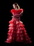 服装舞蹈演员佛拉明柯舞曲激情红色妇女 库存照片