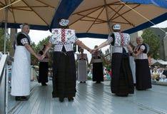 服装舞蹈荷兰语原来的显示妇女 免版税图库摄影
