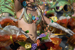 服装跳舞的一名妇女在狂欢节 免版税图库摄影
