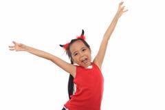 服装逗人喜爱的女孩万圣节一点红色&# 免版税库存图片