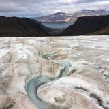 朗伊尔城冰川视图  库存照片