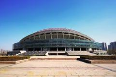 晴朗的冬天淄博体育中心体育场 库存图片