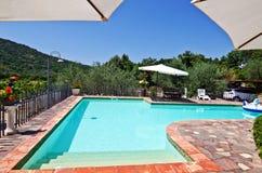 晴朗的后院游泳池和露台 免版税库存图片