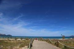 晴朗的海滩在马略卡 免版税图库摄影
