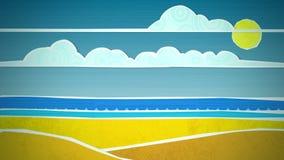 晴朗的海滩场面圈 向量例证