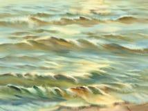 晴朗的海水彩背景 库存照片