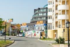晴朗的海滩的奥尔多超级市场在保加利亚 库存图片