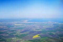 晴朗的海滩胜地空中全景2 免版税库存照片