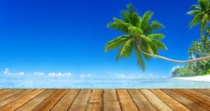 晴朗的热带夏天天堂海滩 免版税库存照片