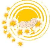 晴朗的背景的睡觉的婴孩与花 图库摄影