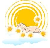 晴朗的背景的睡觉的婴孩 库存照片