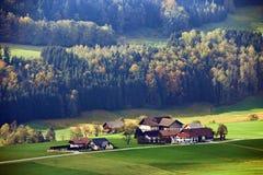晴朗的10月天在奥地利 秋天在阿尔卑斯 免版税库存图片