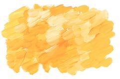 晴朗的黄色丙烯酸漆刷子冲程 皇族释放例证