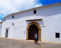 朗达斗牛场入口,安大路西亚,西班牙 免版税库存图片