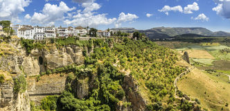 朗达风景视图 马拉加西班牙省的一个城市  库存图片