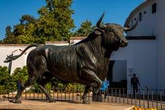 朗达,安大路西亚/西班牙- 2017年10月08日:黑黄牛雕塑 免版税库存照片