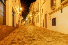 朗达 村庄街道在晚上 免版税图库摄影