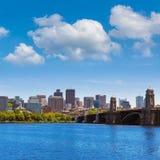 从朗费洛桥梁的波士顿在马萨诸塞 免版税库存照片