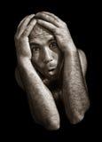 绝望和可怕的精神分裂症的人 图库摄影