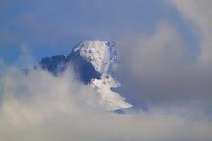 渴望在云彩后的峰顶 免版税库存照片