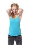 绝望的叫喊的妇女 免版税库存照片