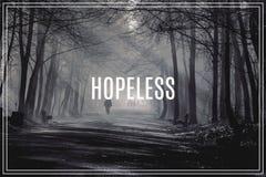绝望的词 路和光束在强的雾在森林里 免版税库存照片