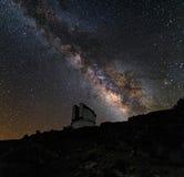 望远镜和银河 免版税库存照片