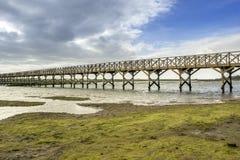 朝向到金塔的人行桥在Ria福摩萨做Lago海滩, 阿尔加威 免版税图库摄影