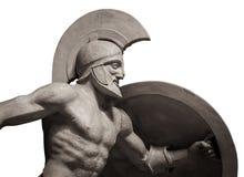 朝向在战士盔甲希腊古老雕塑  背景查出的白色 免版税库存照片