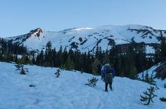 朝向对山顶Mt的登山人 Mt.圣Helens 免版税库存照片