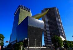 朝日啤酒塔的看法在12月30日东京 2014年在日本 浅草是老镇普遍的旅游胜地地标  图库摄影