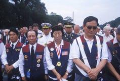 朝鲜战争第50周年纪念仪式的韩文美国退伍军人,华盛顿特区, C 免版税库存图片