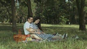 期待婴孩的快乐的夫妇去野餐在公园 影视素材