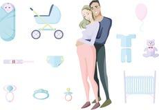 期待孩子的年轻微笑的已婚夫妇围拢由未来物质性和父权玩具和项目  字符 皇族释放例证