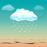 期待已久的云彩雨在热的沙漠 库存例证