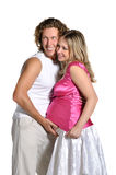 期待方式年轻人的婴孩夫妇 图库摄影