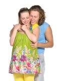 期待方式的2对婴孩夫妇 免版税库存图片