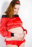期待婴孩的美丽的孕妇 库存图片