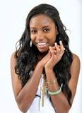 期望有吸引力的黑色热切的妇女年轻人 免版税图库摄影